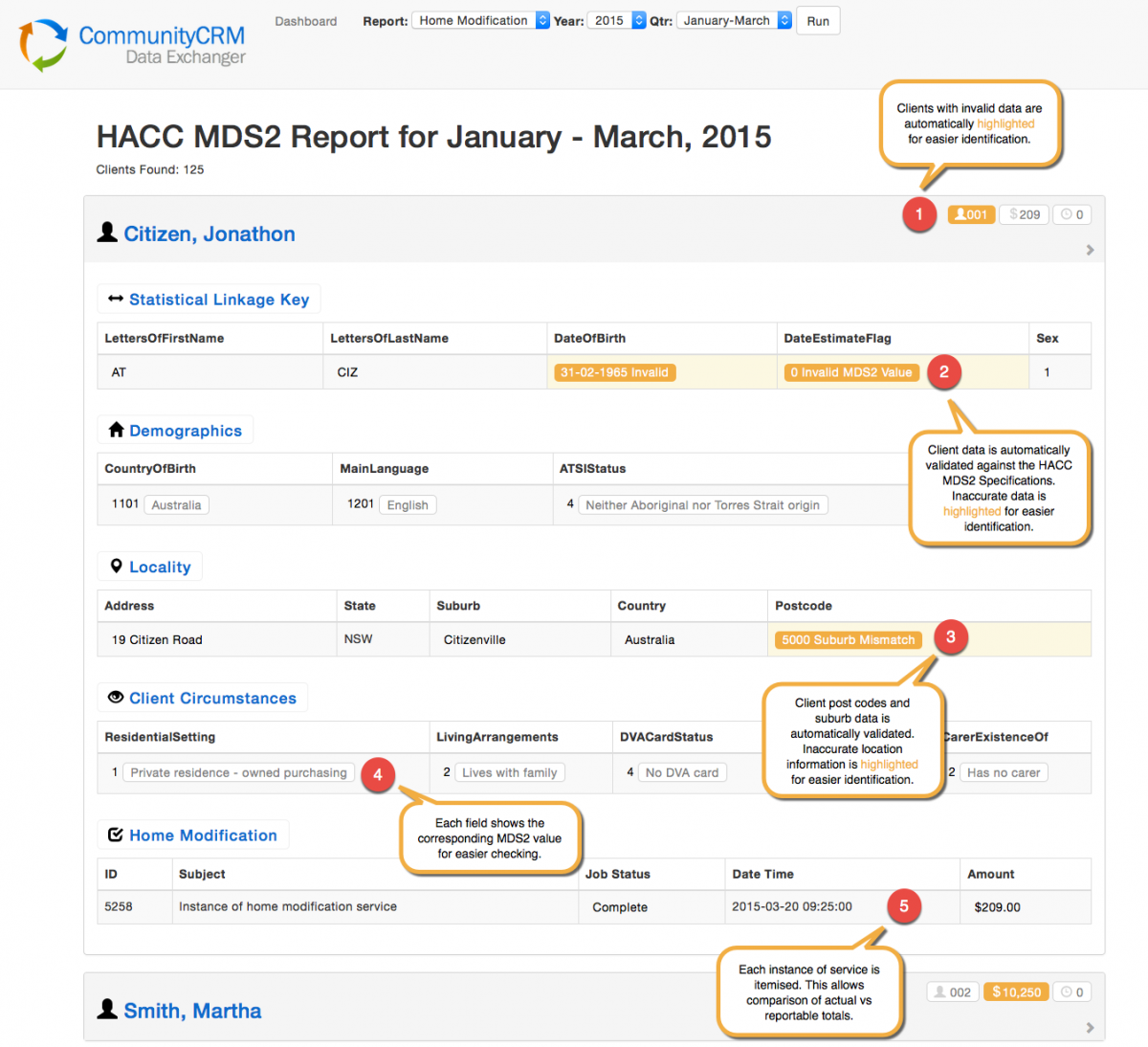HACC MDS2 Reporting with CiviCRM using CommunityCRMs Data Exchanger